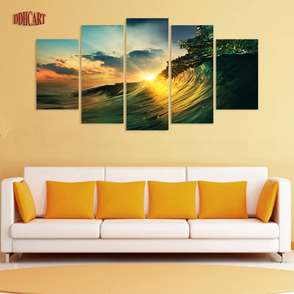 5 Piece Waves Sunset Seaview Picture Painting on Canvas for s
