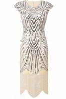 PrettyGuide Women 1920s Vintage Great Gatsby Art Deco Sequin Embellished Fringed Hem Cocktail Flapper Dress