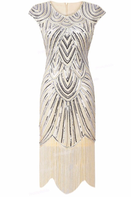 9127e1e6ade0 PrettyGuide Women 1920s Vintage Great Gatsby Art Deco Sequin Embellished  Fringed Hem Cocktail Flapper Dress