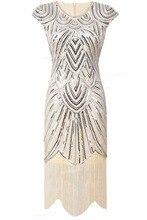 Mujeres 1920 s Vintage Gran Gatsby PrettyGuide Art Deco Dobladillo Con Flecos de Lentejuelas Adornado Cóctel Vestido Flapper