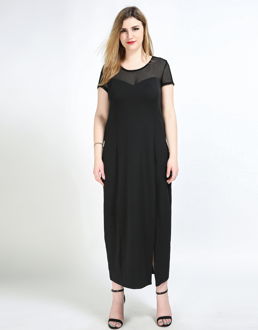 Women\'s Sexy Plus Size Maxi Cocktail Party Dress Black Night Out ...