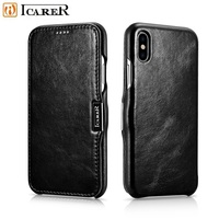 ICARER For Apple IPhone X Vintage Style Crazy Horse Cowhide Genuine Leather Folio Flip Phone Case