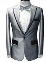 Latest Coat Pant Designs Silver Grey Satin Men Suit Formal Skinny Prom Blazer Lighting Simple Custom Tuxedo 2 Piece Terno H80