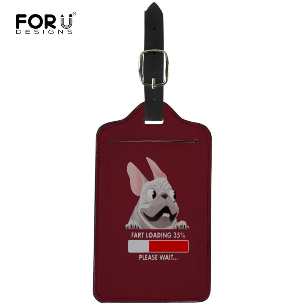 FORUDESIGNS Cute Frenchie Bulldog Suitcases Luggage Tag ID Address Holder Baggage Portable Label Leather Tag Travel Accessories