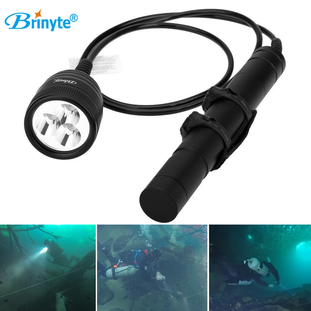 Brinyte DIV10 LED Diving Flashlight CREE XML2 3000lm LED Scuba Diving Torch Light 200M Underwater 3*26650 Batteries Lamp brinyte div10w led canister video light cree xml2 4500lm led scuba diving torch flashlight 200m underwater lamp
