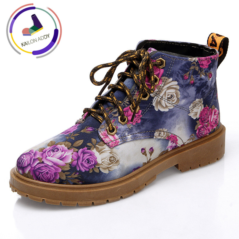 KAILON ADDY 35-40 Size New Retro Boots Flowers, Jeans, Martin Boots Women Sneakers PU Breathable Casual Shoes Skid-proof ShoesKAILON ADDY 35-40 Size New Retro Boots Flowers, Jeans, Martin Boots Women Sneakers PU Breathable Casual Shoes Skid-proof Shoes