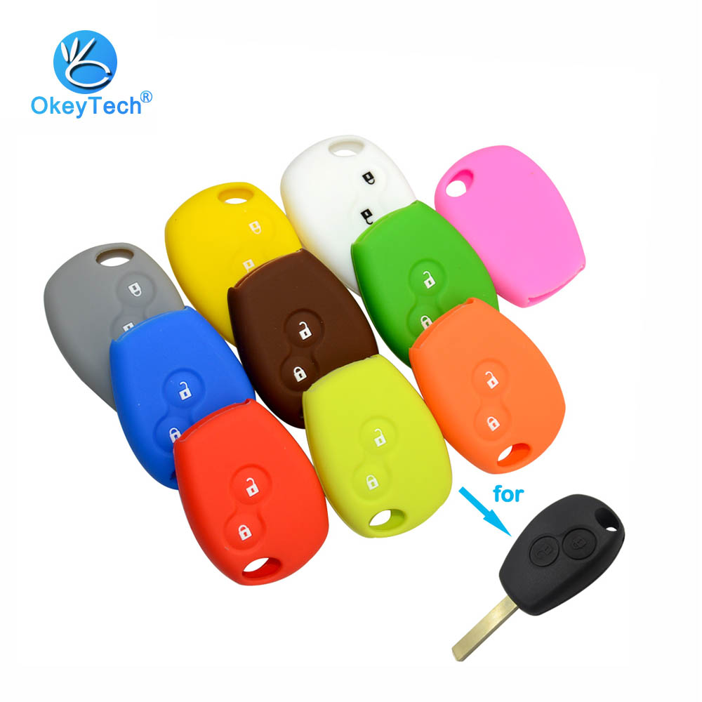OkeyTech 2 Button Silicone Rubber Car Key Shell Cover Case Fob Protector Holder for Renault Kangoo DACIA Scenic Megane Sandero
