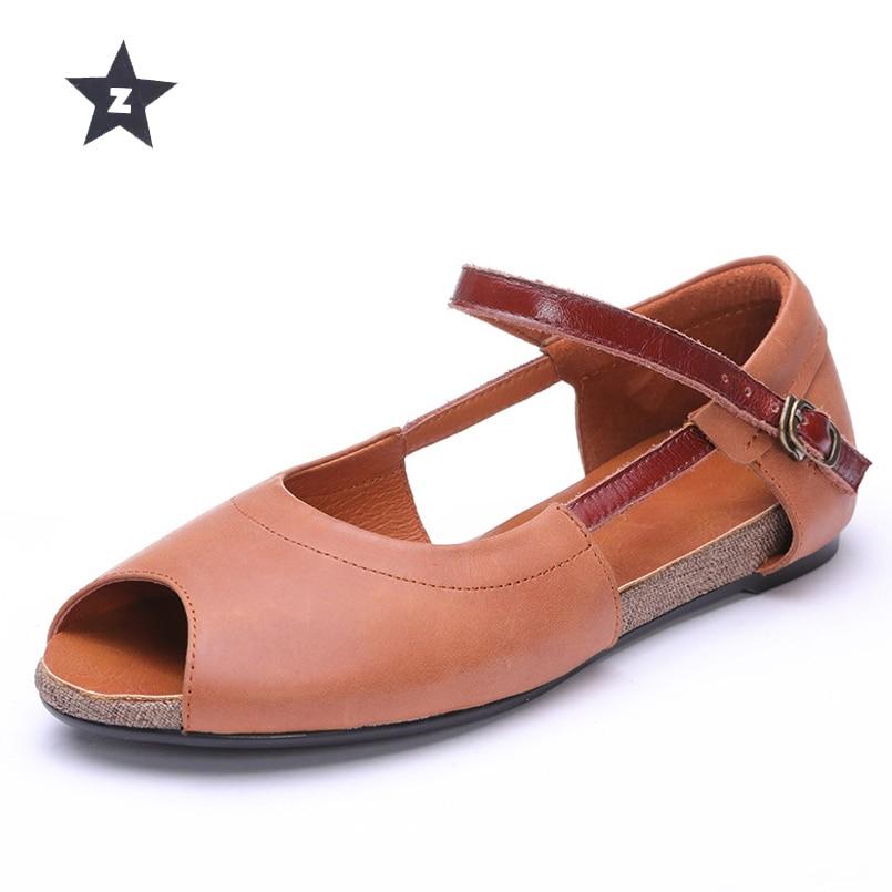 Z genuine leather women shoes retro fish mouth metal buckle flat shoes women sandals summer women