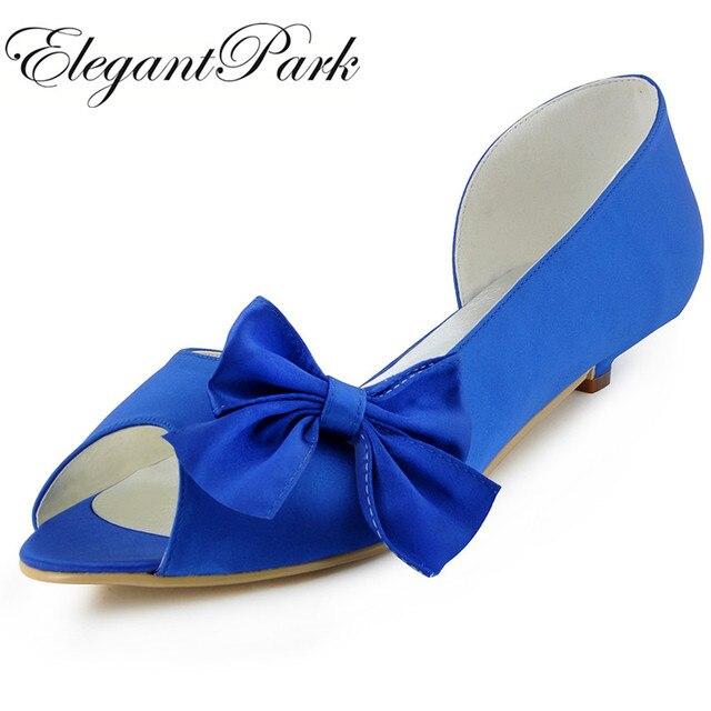 59c5ec99c WM-019 Mulheres Casamento Sapatos de salto Baixo Azul Branco Marfim Peep Toe  Laço de