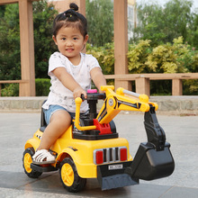 2 In 1 Electric Kids Car Ride on Toys Excavator Crane Music Light Four Wheels Construction Machine for Children