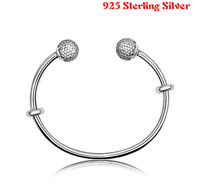 Top Quality Open Bangle Pave Caps With Cubic Zirconia Pan Bangle Bracelet Fit Women Bead Charm
