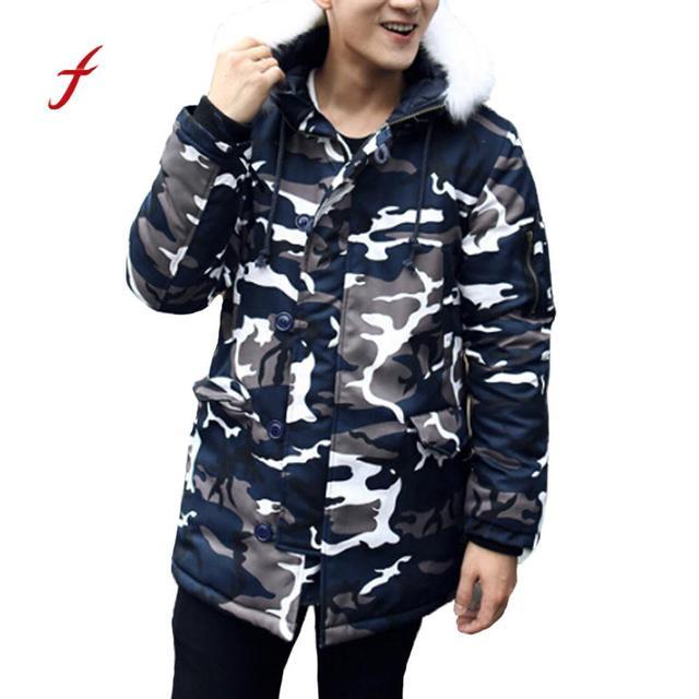 e4d43b20365 Camuflagem homens Moda Jaqueta Casaco de Inverno Espessamento de  Algodão-Acolchoado Casacos De Inverno Camisola