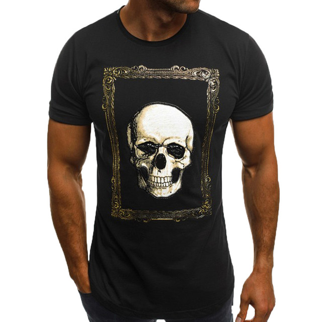 Unique Iron Skull Print 3d Tee Black T-shirt