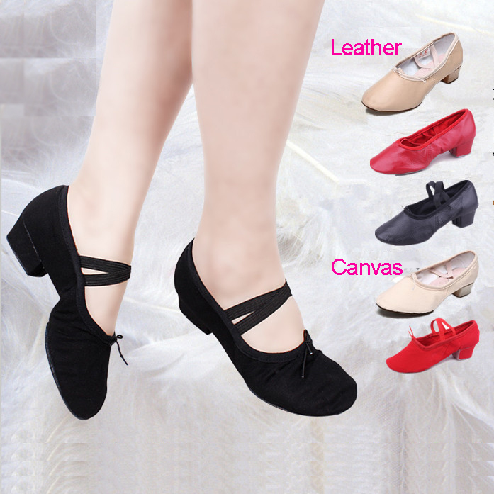 Ballet Shoes With Heels Adult Dance Shoes Women Girls New Leather Latin Dance Shoes Practice Teacher Teaching