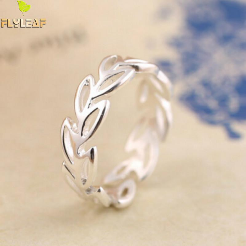 Flyleaf Simple Hollow Leaves Opening Ring 925 Sterling Silver Jewelry Fashion Wedding Rings For Women Bague Femme