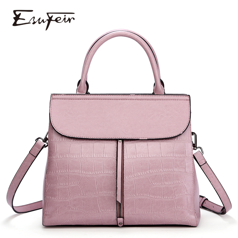 New 2018 ESUFEIR Brand Stone Pattern Women Bag Soft Genuine Leather Women Handbag Fashion Shoulder Bag Femal Top-Handle Bag