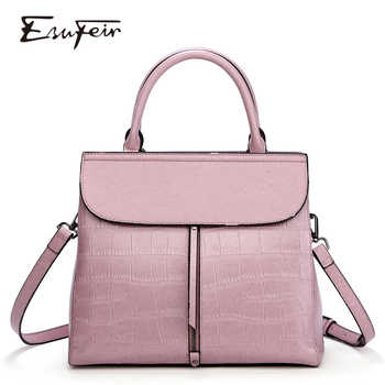 New 2018 ESUFEIR Brand Stone Pattern Women Bag Soft Genuine Leather Women Handbag Fashion Shoulder Bag Femal Top-Handle Bag - DISCOUNT ITEM  48% OFF All Category