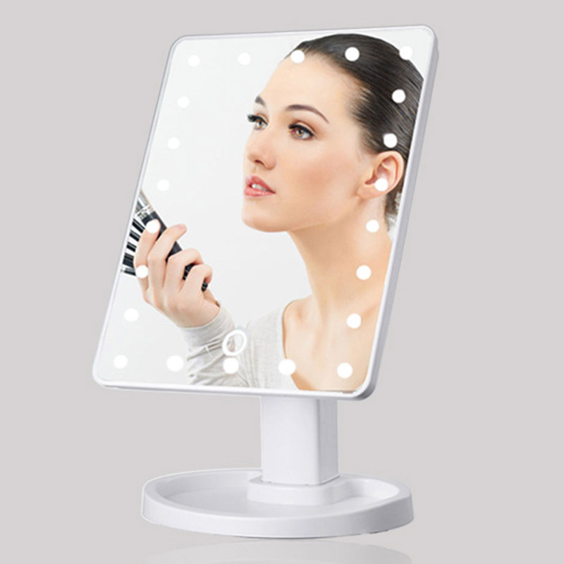 Mirrors 360 Degrees Rotation Makeup Mirror Adjustable 16/22 Leds Lighted LED Touch Screen Portable Luminous Cosmetic Mirrors 360 degrees led touch screen mirrors women make up cosmetics mirror with illumination table leds lighted vanity mirror dropship