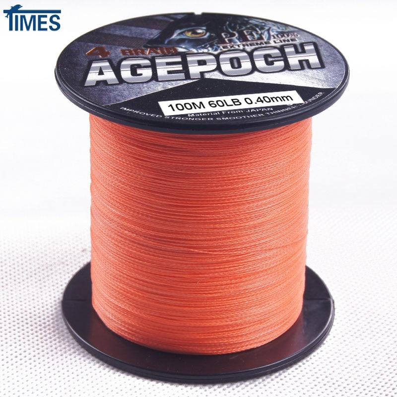 Brand 4 strands 100m 300m 500m 1000m 6 100lb orange ultra for Orange fishing line