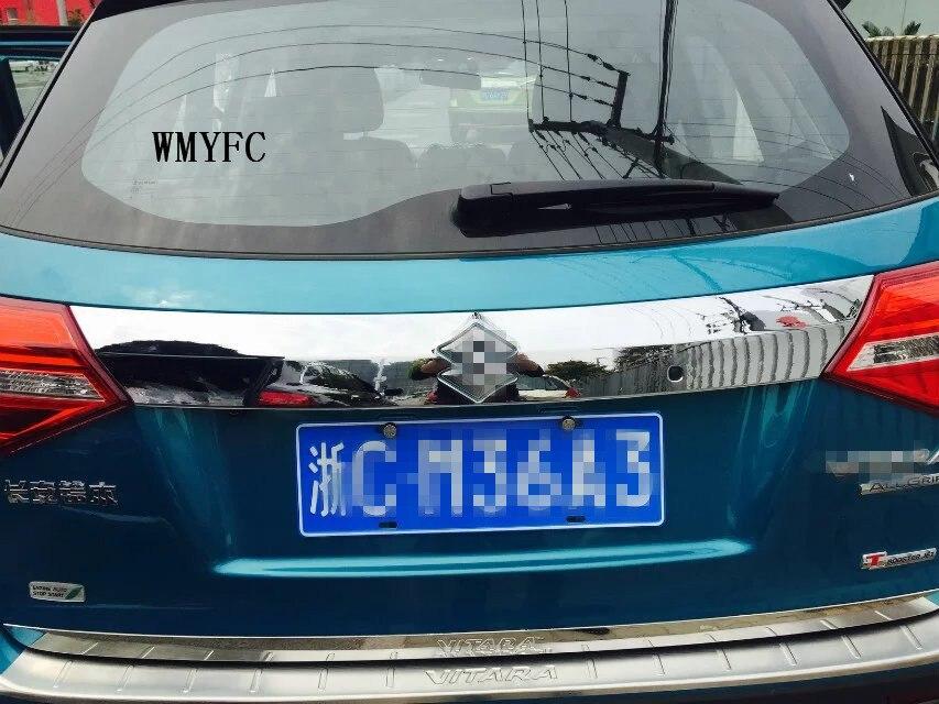 For 2016 2017 Suzuki Vitara Tailgate Rear Door Bottom Cover Molding Trim Stainless Steel back door trim car Accessories