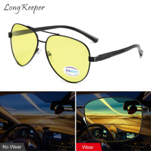 Long Keeper Sunglasses Women Men Oval Night Vision Polarized Photochromic Anti