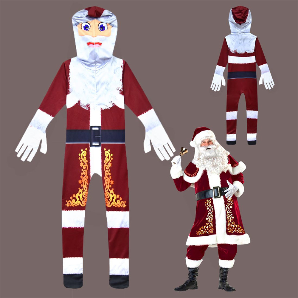 Cosplay christmas costume children kids santa claus jumpsuit Headgear boys girls Tight bodysuit  Christmas  Halloween costume
