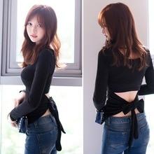 Women Hollow back tie with bow Long Sleeve Tops Spring Autumn Tee Shirt Women Korean Style T-Shirt цены