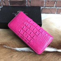 New arrival luxury real crocodile leather women ladies long wallet purse zipper wallet with card holders