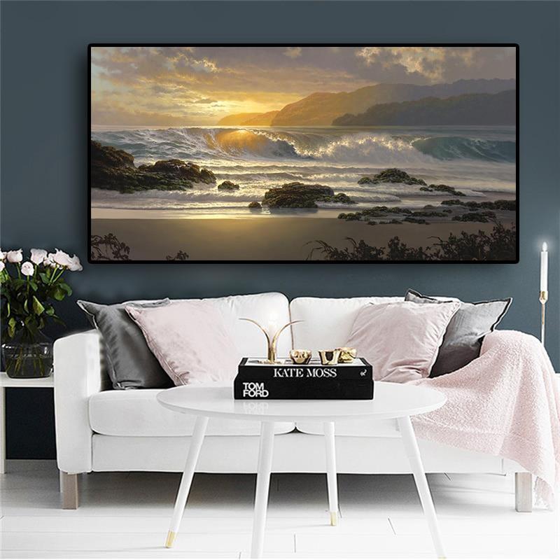 Sunset Beach Landscape Scandinavian Prints Sea Wave Modern Wall Canvas