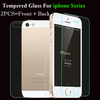 2Pcs/lot Front + Back 0.3mm Tempered Glass For iPhone 7 5 5S SE 6 6S Plus 4 4S Screen Protector Toughened Glass Phone Cover Film
