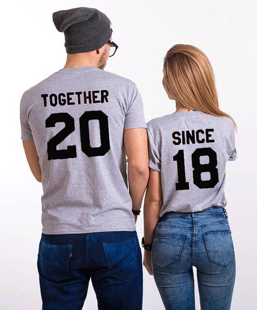ed8fcf65b Juntos Desde Casais T-Shirt Casais Juntos 20 Desde 18 Do Tumblr letra t  camisa