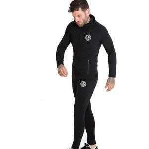 Image 4 - 秋新メンズスキニーソリッドカラー男性ジムフィットネスボディービルジョギングスポーツウェアカジュアルファッション綿のジッパーのジャケット