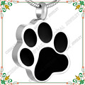 CMJ8451 Black dog paw shape stainless steel cremation jewelry Pet Charms  men jewelry collier ras du cou