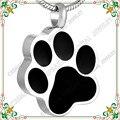 CMJ8451 Negro forma de la pata del perro de acero inoxidable joyería de cremación de Mascotas Charms hombres joyería collier ras du cou