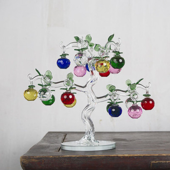 Crystal Apple Tree Ornaments Glass Fengshui Crafts Living Room TV Cabinet Home Decor Figurines Christmas New Year Gift Souvenir