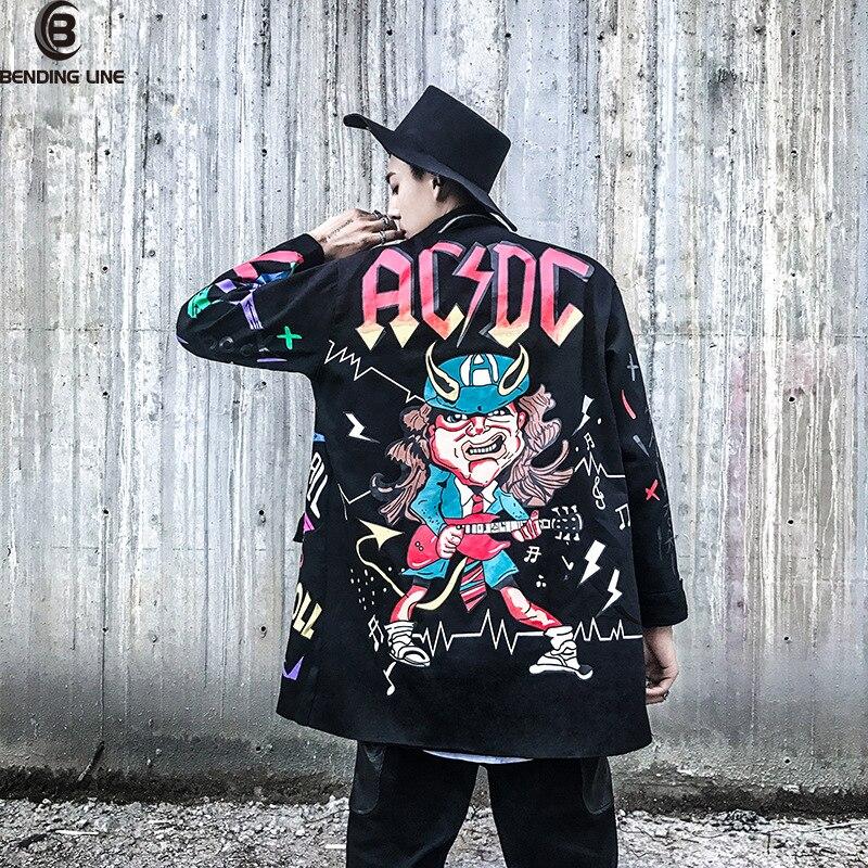 Ligne de cintrage 2018 mâle lâche manteau croix ruban pardessus hommes haute rue mode impression Hip Hop Punk Style longue Trench veste