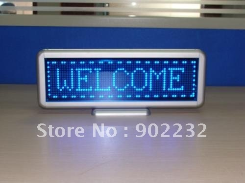 Free ship,1pcs sell,16*64dots,Pitch 4mm,led desktop board,retail accept,blue led,highbrightness led message board