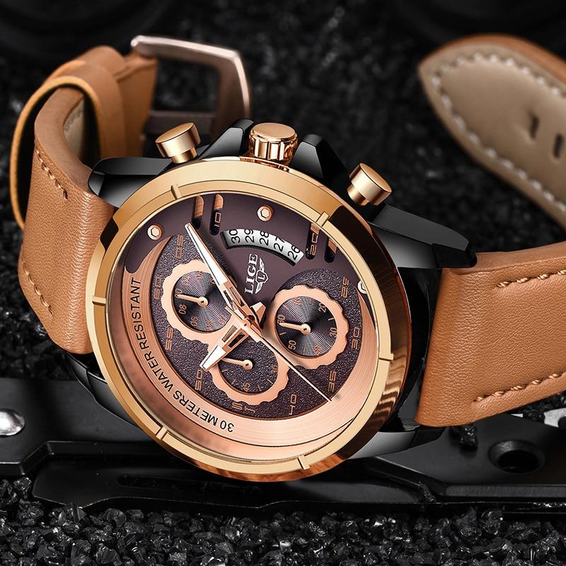 LIGE Watch Top Brand Man Watches With Chronograph Sports Waterproof Clock Man Watches Military Luxury Men's Watch Analog Quartz