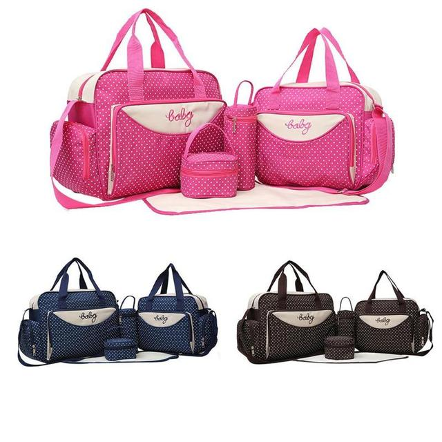 5pcs Set Mom Baby Diaper Bags Shoulder Handbags Mother Stroller Maternity Ny Bottle Holder