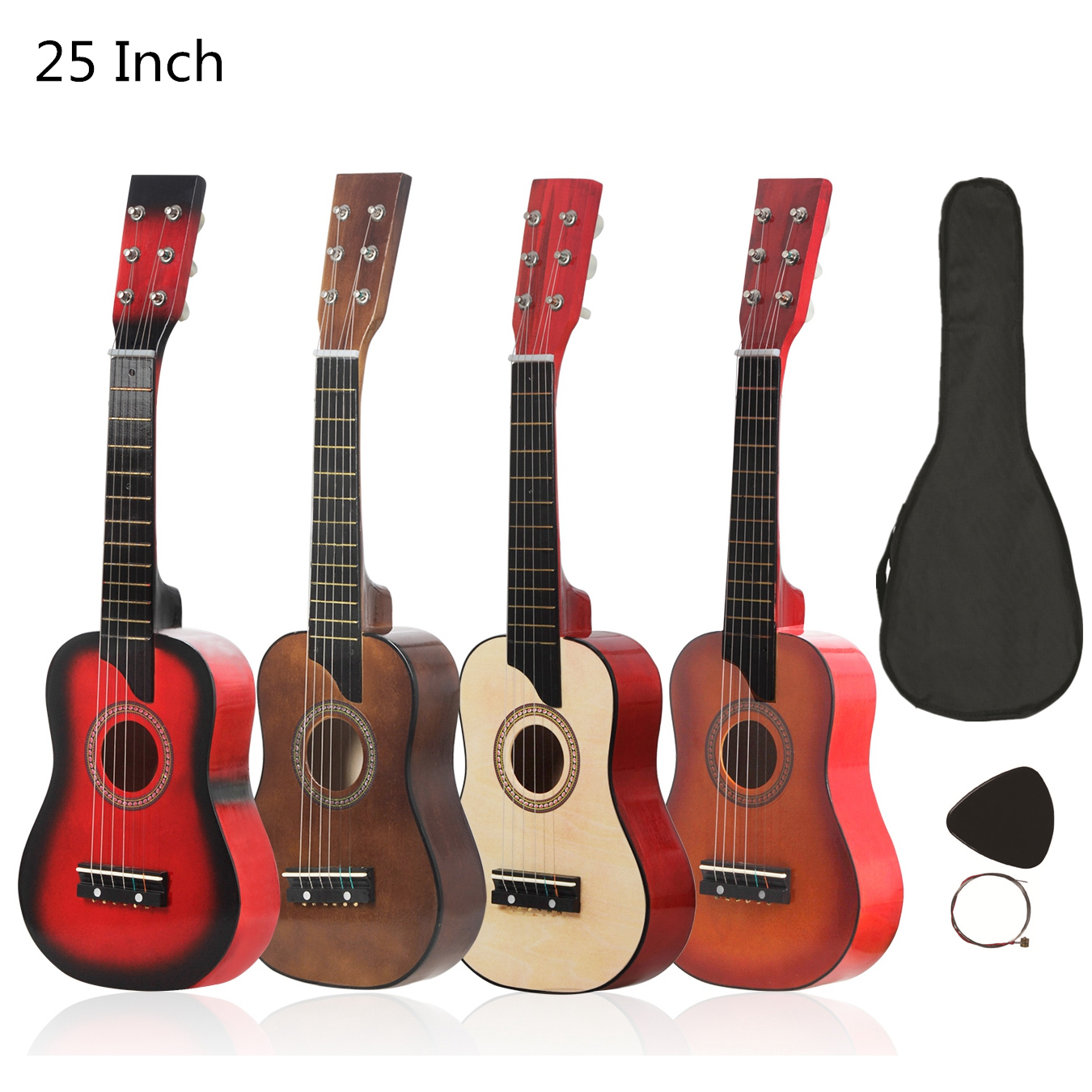 25 Inch Basswood Acoustic Guitar with Bag Pick Strings for Children and Beginner 4 Colors Optional