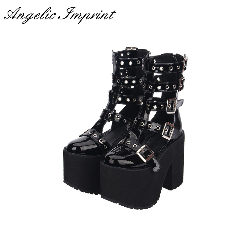 Women Thick Platform Buckle Straps Summer Boots Sandals Japan Harajuku Black Punk Cosplay Sandals Boots double buckle cross straps mid calf boots