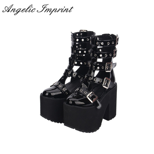 b0942ce7a57 Women Thick Platform Buckle Straps Summer Boots Sandals Japan Harajuku  Black Punk Cosplay Sandals Boots