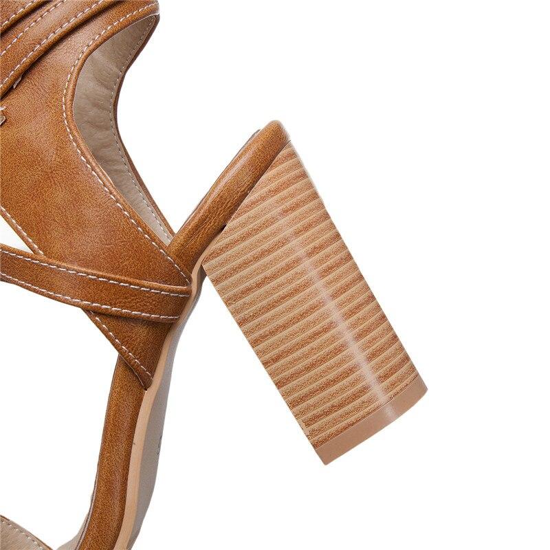 Prom Up Asumer Spartan cinturino Summer verde Beige alti Big Lace Sandalo Tacchi Size Donna 33 47 alla marrone donna per 2019 caviglia Scarpe 8pnSr8Twq