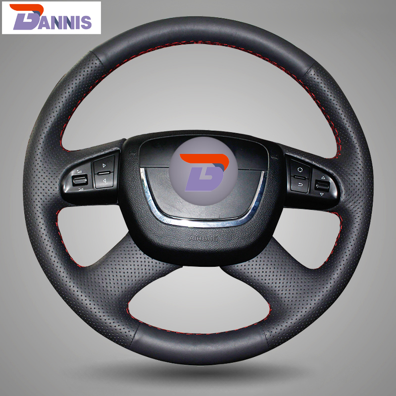 BANNIS Black Artificial Leather DIY Hand stitched Steering Wheel Cover for Skoda Octavia Octavia a5 a