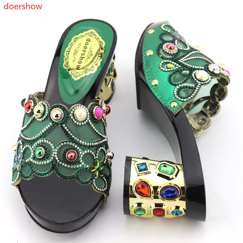 doershow New coming green African sandals Italian shoes 9 cm high heel size38-42 KGB1-18 doershow african shoes and bags fashion italian matching shoes and bag set nigerian high heels for wedding dress puw1 19