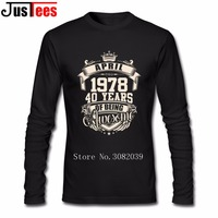 1978 kwietnia 40 Lata Bycia Niesamowite Tshirt Koszulki Męskie Punk Rock Z Długim Rękawem Bawełna Miejskich T Koszula Vintage, Patrząc odzież