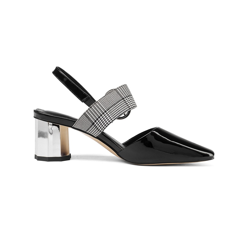 Mujeres Casuales Black Conciso Calientes Hebilla Calidad Altos Toe Las  Señoras Zapatos Patchwork Oficina Facndinll Sandalias Alta Square De Tacones  ... 38a2ff79bbef