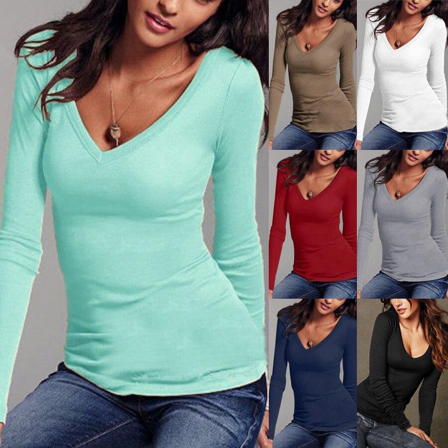 Autumn Women Cotton T Shirt Top Long Sleeve Black White Casual Tee Shirt Femme Female Slim Sexy Tops Plus Size Fashion Clothes