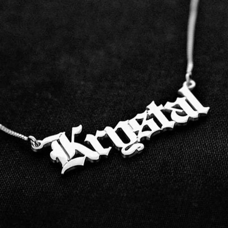 Personalized Customized Fashion Stainless Steel Name Necklace Letter Old English Necklace For Women Nameplate Gift Wedding
