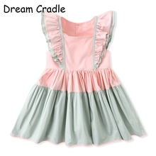 Dream Cradle, Baby Girls Princess Dress,Spanish Baby Dress,Flutter Sleeve Baby Girls Outfit geo lace yoke flutter sleeve top